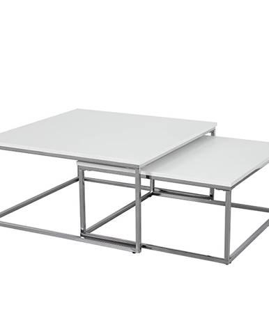 Set 2 konferenčných stolíkov chróm/biela ENISOL TYP 1 poškodený tovar