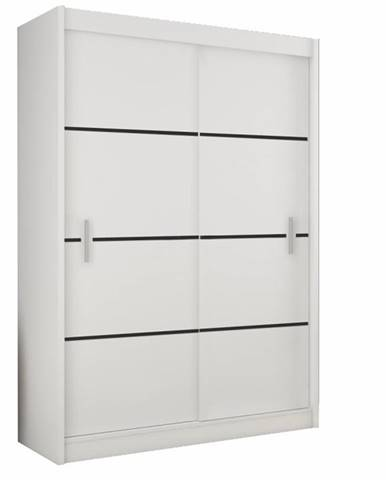 Skriňa s posúvacími dverami biela/čierna MERINA 150