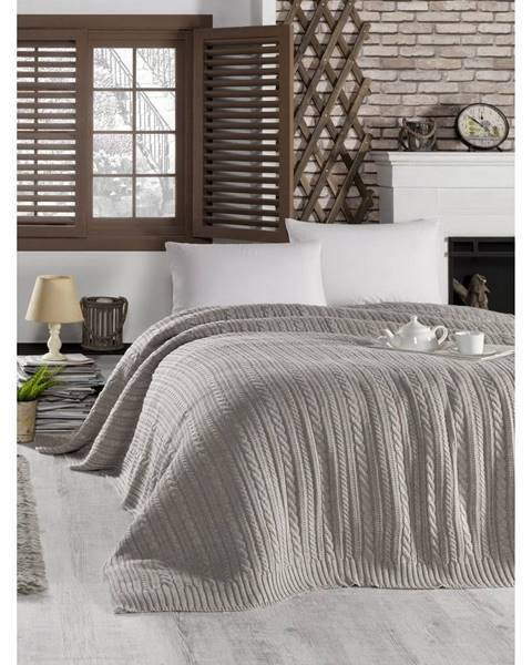 Homemania Tmavobéžová prikrývka cez posteľ Camila, 220 x 240 cm