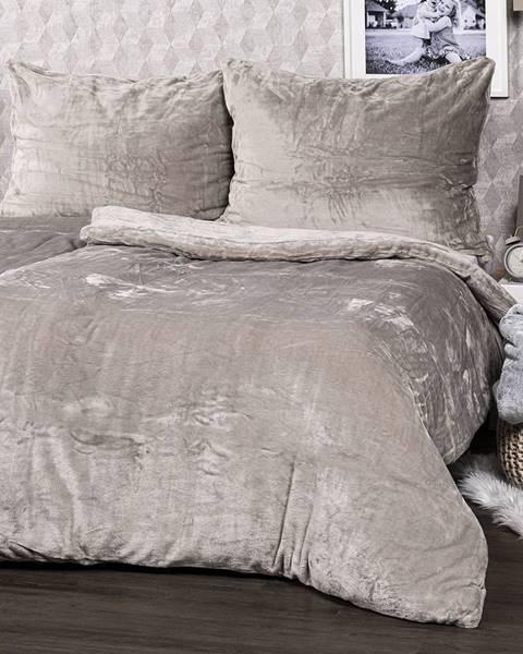 4Home 4home obliečky mikroflanel sivá, 140 x 200 cm, 70 x 90 cm