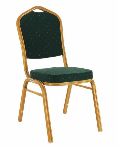 Kondela Stohovateľná stolička zelená/zlatý náter ZINA 3 NEW