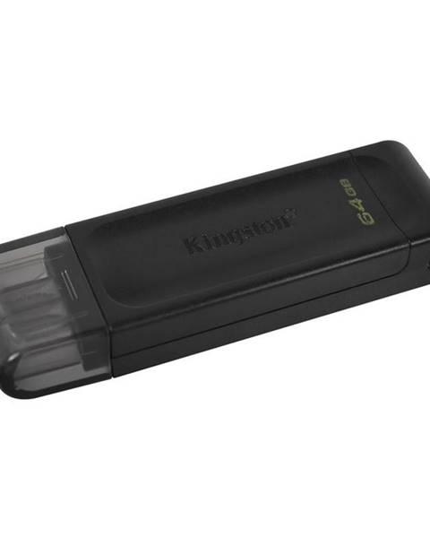 Kingston USB flash disk Kingston DataTraveler 70 64GB, USB-C čierny