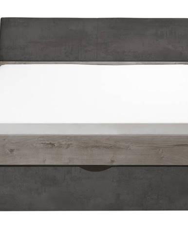 Posteľ MERWIN dekor dub/betón, 180x200 cm