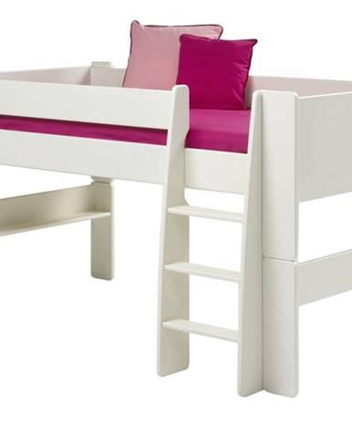 Zvýšená posteľ so schodíkmi FOR KIDS 613 biela, 90x200 cm