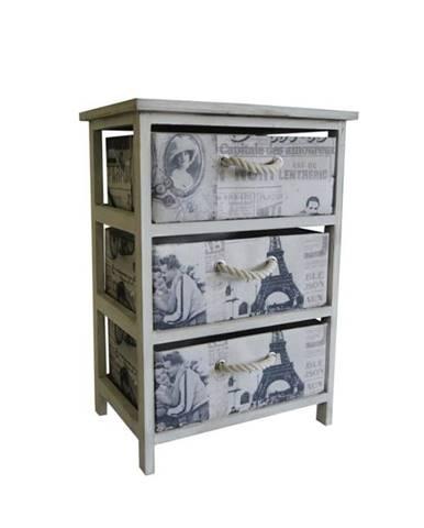 Komoda/regál so zásuvkami PARIS 004 krémová s potlačou/biela
