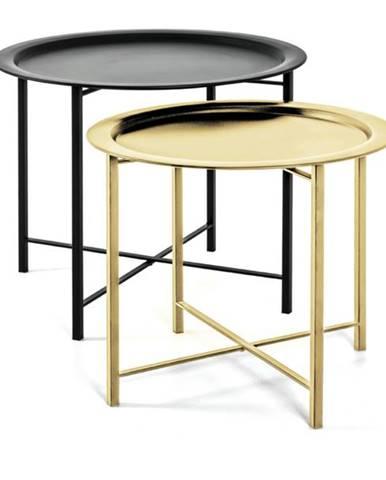 Prístavné stolíky FABIOLA čierna/zlatá, 2 kusy