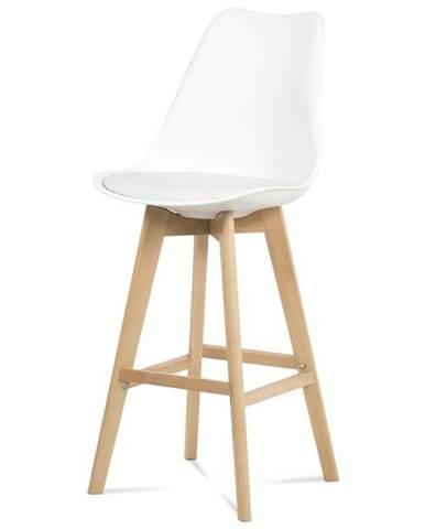 Barová stolička JULIETTE biela/buk