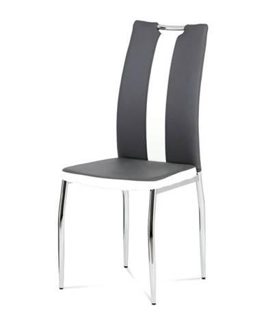 Jedálenská stolička BARBORA sivobiela/chróm