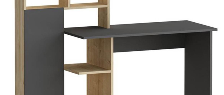 Písací stôl s regálom BUGRA dub/antracitová