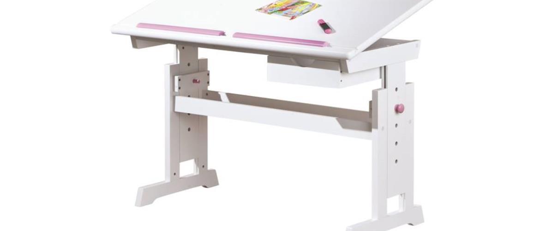 Nastaviteľný písací stôl BERNIS biela
